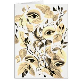 Diseño surrealista de los ojos de la sepia utópica tarjeta