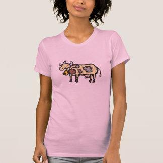 Diseño texturizado de la vaca camisetas