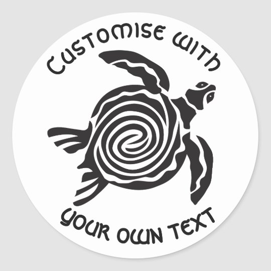 Diseño tribal de encargo de la tortuga pegatina redonda