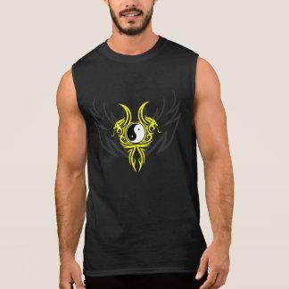 Diseño tribal del dragón de Yin Yang, amarillo Camisetas Sin Mangas
