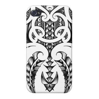 Diseño tribal del tatuaje en estilo maorí y samoan iPhone 4 fundas
