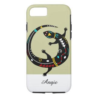 Diseño tribal personalizado del lagarto del funda iPhone 7