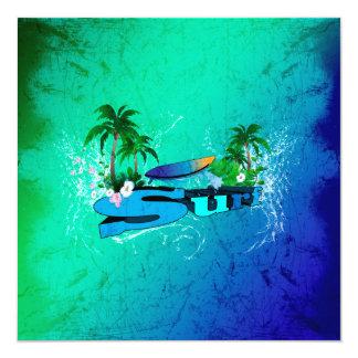 Diseño tropical con la tabla hawaiana y las invitación 13,3 cm x 13,3cm