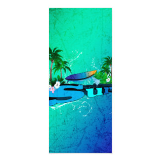 Diseño tropical con la tabla hawaiana y las invitación 10,1 x 23,5 cm