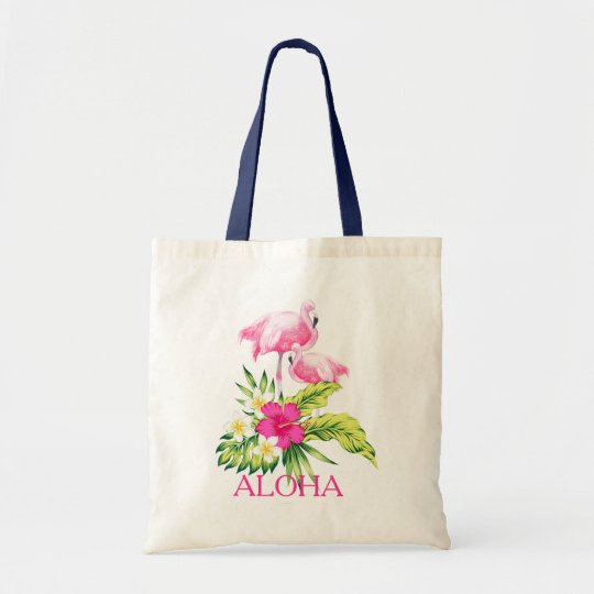 Diseño tropical del hibisco y de los flamencos bolso de tela