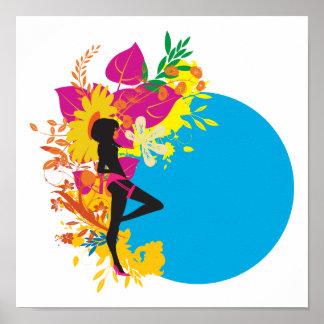 diseño tropical del vector del chica impresiones