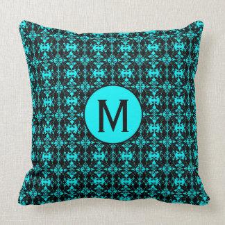 Diseño, trullo y negro del damasco de la almohada