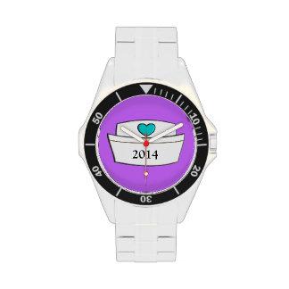 Diseño único 2014 del casquillo de la enfermera de relojes de pulsera