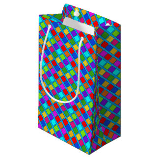 Diseño único de los cuadrados coloridos bolsa de regalo pequeña