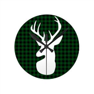 Diseño verde elegante de los ciervos de la tela reloj redondo mediano