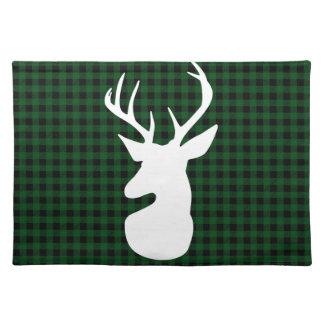 Diseño verde elegante de los ciervos de la tela salvamanteles
