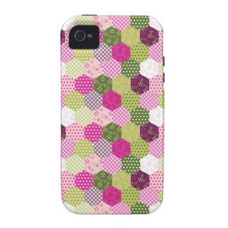 Diseño verde rosado bonito del edredón de remiendo vibe iPhone 4 fundas