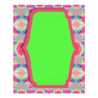 Diseño verde rosado bonito del modelo folleto 11,4 x 14,2 cm