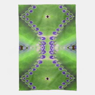 Diseño verde y púrpura toallas de cocina