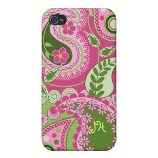 Diseño y monograma rosados/verdes de Paisley iPhone 4 Carcasas