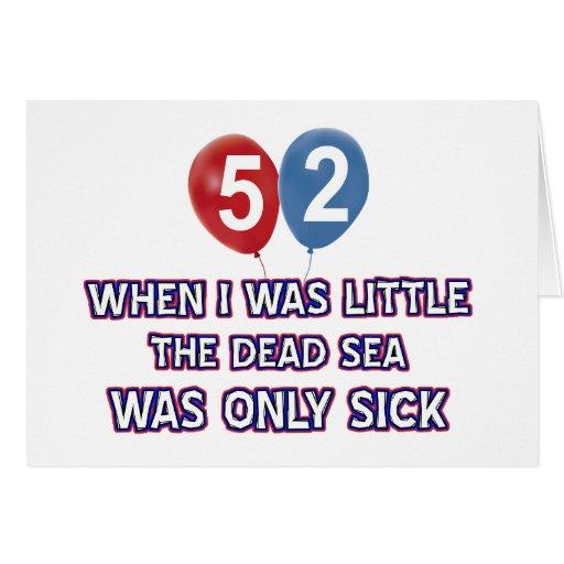 diseños 52 años del cumpleaños del mar muerto tarjeta