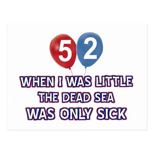diseños 52 años del cumpleaños del mar muerto postales