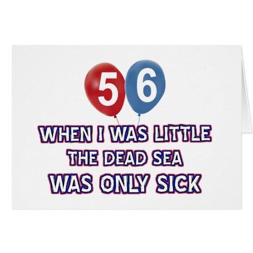 diseños 56 años del cumpleaños del mar muerto felicitacion
