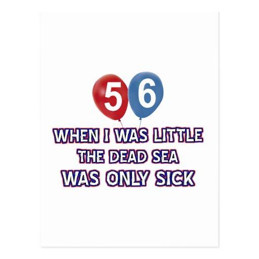 diseños 56 años del cumpleaños del mar muerto postal