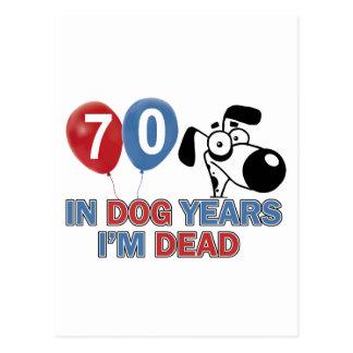 diseños 70 años de los años del perro tarjetas postales