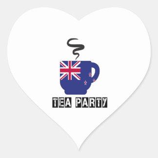 Diseños de la bandera de Nueva Zelanda Pegatina En Forma De Corazón