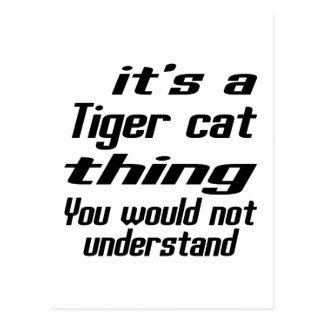 Diseños de la cosa del gato de tigre postal
