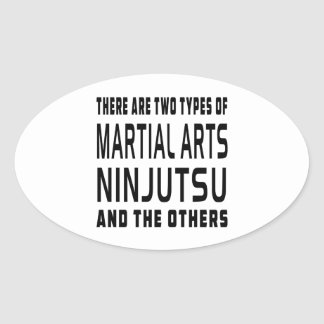 Diseños de los artes marciales de Ninjutsu Calcomanías Ovales Personalizadas