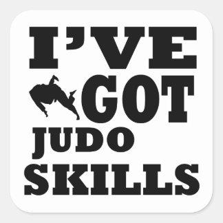 Diseños de los artes marciales del judo calcomanía cuadradas personalizadas
