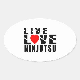 Diseños de NINJUTSU Pegatina Ovalada