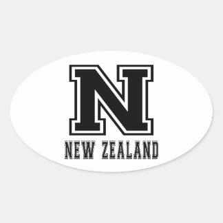 Diseños de Nueva Zelanda Pegatina Ovalada