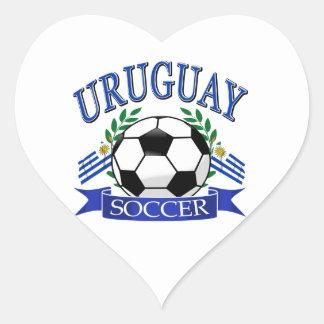 Diseños del balón de fútbol de Uruguay Pegatina En Forma De Corazón