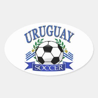Diseños del balón de fútbol de Uruguay Pegatina Ovalada