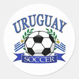 Diseños del balón de fútbol de Uruguay Pegatina Redonda