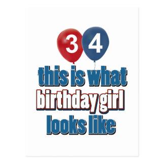 diseños del chica del cumpleaños de 34 años postal