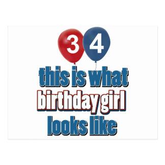 diseños del chica del cumpleaños de 34 años tarjeta postal