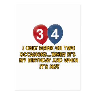 diseños del cumpleaños de 34 años tarjeta postal