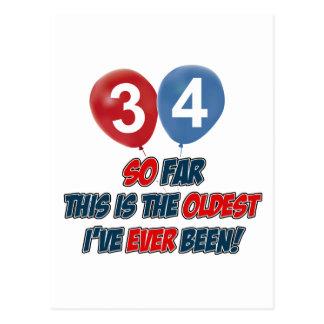 diseños del cumpleaños de 34 años postal