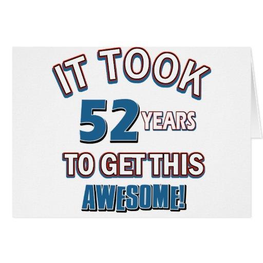 diseños del cumpleaños de 52 años felicitacion