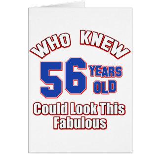 diseños del cumpleaños de 56 años felicitación