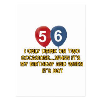 diseños del cumpleaños de 56 años postales