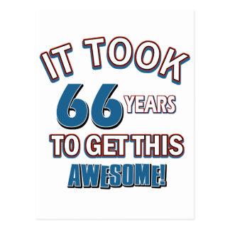 diseños del cumpleaños de 66 años tarjeta postal