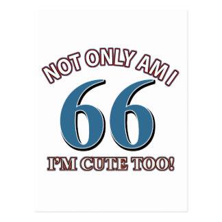 diseños del cumpleaños de 66 años postales