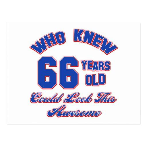 diseños del cumpleaños de 66 años postal