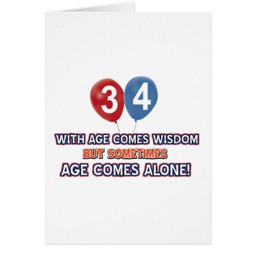 diseños del cumpleaños de la sabiduría de 34 años felicitación