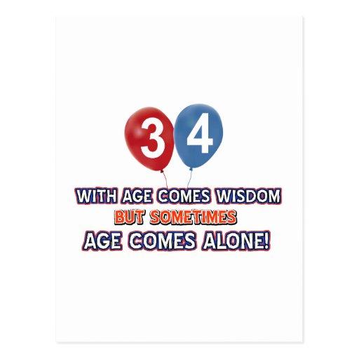 diseños del cumpleaños de la sabiduría de 34 años postal