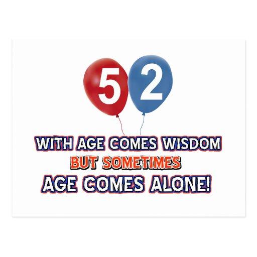 diseños del cumpleaños de la sabiduría de 52 años postal