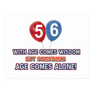 diseños del cumpleaños de la sabiduría de 56 años postal