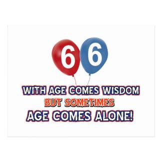 diseños del cumpleaños de la sabiduría de 66 años tarjetas postales
