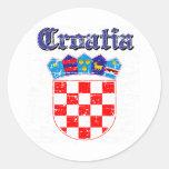 Diseños del escudo de armas de Croacia del Grunge Pegatinas Redondas