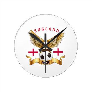 Diseños del fútbol de Inglaterra Reloj Redondo Mediano